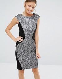 Синее облегающее платье с пайетками Closet - Черный