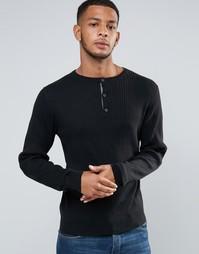 Джемпер в рубчик с горловиной на пуговицах Tokyo Laundry - Черный