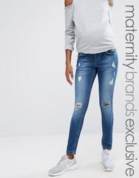 Синие рваные джинсы скинни для беременных Missguided Maternity - Синий