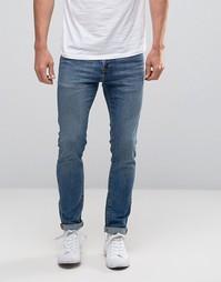 Выбеленные супероблегающие джинсы стретч Abercrombie & Fitch - Синий