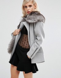 Пальто бойфренда с большим шарфом из искусственного меха Lost Ink - Серый