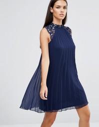 Свободное платье с плиссировкой и цветочной отделкой 3D Lipsy - Темно-синий