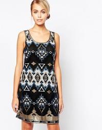 Платье мини с ацтекским узором из пайеток City Goddess - Синий