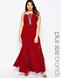 Платье макси с глубоким вырезом и отделкой Forever Unique - Красный