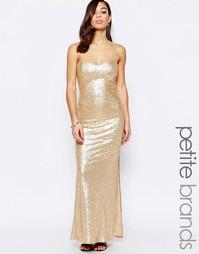 Платье-бандо макси с пайетками Lipstick Boutique Petite - Золотой