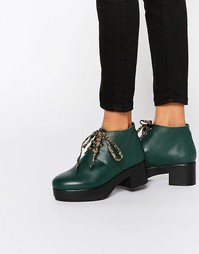 Кожаные ботильоны на платформе и шнуровке Miista Dora - Зеленый