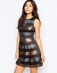 Короткое приталенное платье с полосками цвета металлик AX Paris - Фиолетовый