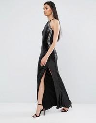 Расшитое пайетками платье макси с высокой горловиной и разрезом TFNC - Черный