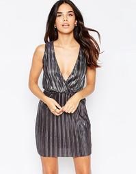Плиссированное платье мини с отделкой металлик и запахом Oh My Love - Черный