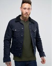 Темная джинсовая куртка с подкладкой борг Lee - Черный