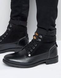 Черные кожаные ботинки на шнуровке Original Peguin - Черный