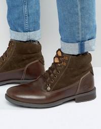 Коричневые кожаные ботинки на шнуровке Original Peguin - Коричневый