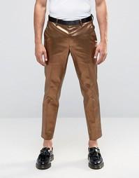 Зауженные брюки в строгом стиле бронзового цвета ASOS - Коричневый