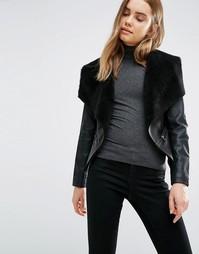 Полиуретановая куртка с воротником из искусственного меха Barneys Original - Черный