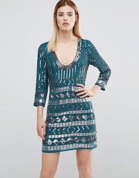 Декорированное платье мини с открытой спиной Maya - Зеленый