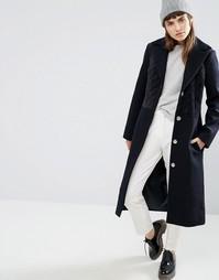 Пальто из смесовой шерсти со стегаными бархатными вставками ASOS - Темно-синий