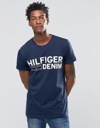 Темно-синяя футболка с логотипом Hilfiger Denim - Темно-синий