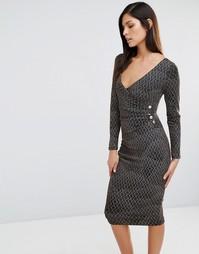 Платье-футляр с перекрестом спереди и принтом Vesper - Золотой
