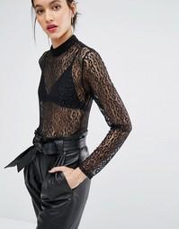 Кружевной комбинезон с леопардовым узором Just Female Demi - Черный