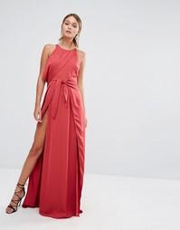 Платье макси с завязками спереди и разрезом до бедра Stylestalker - Красный