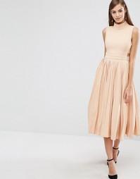 Платье с высоким воротом и плиссированной юбкой The 8th Sign - Розовый
