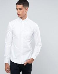 Оксфордская рубашка узкого кроя с длинными рукавами и нашивками на локтях Celio - Белый