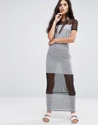 Платье макси с сетчатыми вставками Pixie & Diamond - Черный