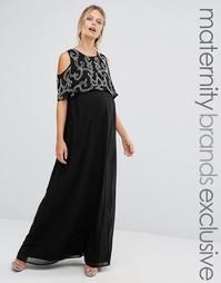 Платье макси для беременных с оборкой на рукавах и отделкой Maya Maternity - Черный