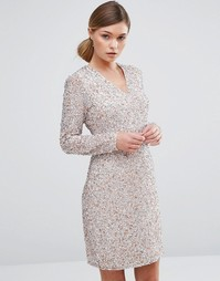 Платье с глубоким вырезом и отделкой пайетками Coast Bella - Розовый