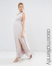 Платье макси с оборкой для беременных Little Mistress Maternity - Бежевый