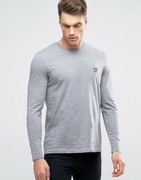 Серый меланжевый лонгслив с логотипом Lyle & Scott - Серый