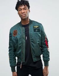 Куртка-пилот зауженного кроя с нашивками Alpha Industries MA-1 - Зеленый