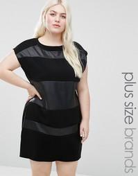 Цельнокройное платье с контрастными вставками Elvi Plus - Черный