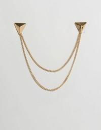 Золотистые треугольные уголки для воротника с цепочками DesignB London - Золотой
