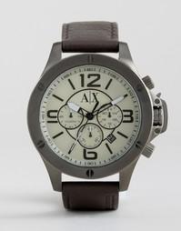 Часы-хронограф с коричневым кожаным ремешком Armani Exchange AX1519 - Коричневый