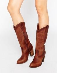 Высокие кожаные сапоги на каблуке в стиле вестерн Frye Jackie - Рыжий