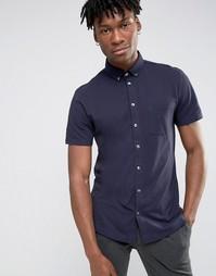 Темно-синяя рубашка классического кроя с короткими рукавами Burton Menswear - Темно-синий