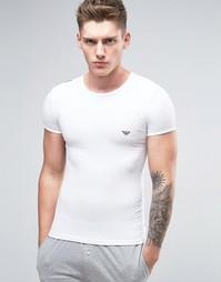 Облегающая футболка с блестящим логотипом Emporio Armani - Белый