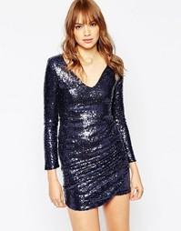 Платье с пайетками и глубоким декольте Wyldr Viper - Синий