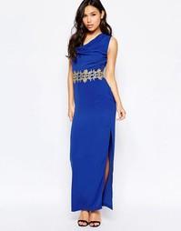 Платье макси с золотистой кружевной отделкой Paper Dolls - Синий