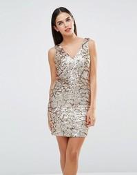 Платье мини с отделкой пайетками Forever Unique Indiana - Золотой