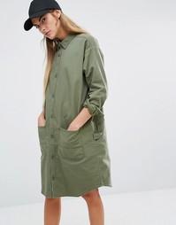 Платье-рубашка в стиле милитари Carhartt WIP - Зеленый