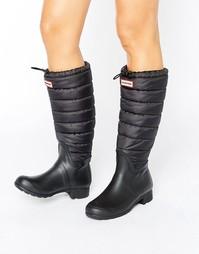 Черные резиновые ботинки со стеганым голенищем Hunter Original - Черный