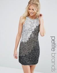 Цельнокройное платье с однотонными пайетками Maya Petite - Серый