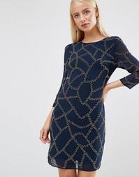 Цельнокройное платье с длинными рукавами и отделкой Maya - Темно-синий