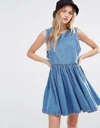 Выбеленное джинсовое платье с заниженной талией Rollas - Синий Rollas