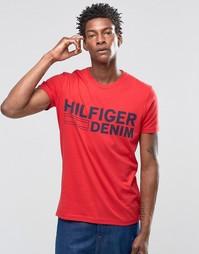 Красная футболка с логотипом Hilfiger Denim - Красный