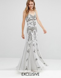 Платье макси с отделкой и годе Maya - Серый