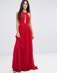 Платье макси с открытой спиной и драпировкой спереди Pixie & Diamond - Красный