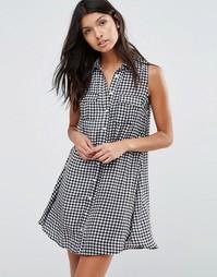 Платье-рубашка с принтом в клетку Pixie & Diamond - Черный